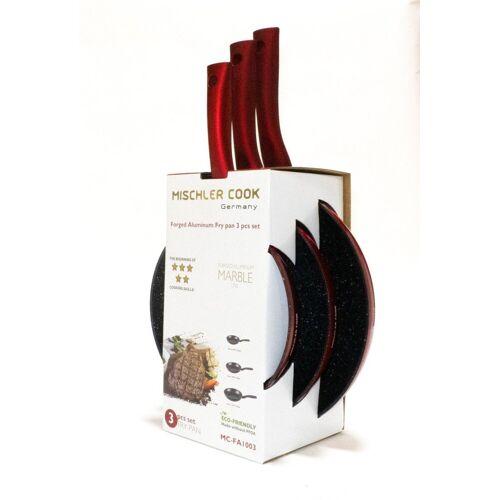 Mischler Cook Pfannen-Set »Pfannen-Set«, Aluminium (3-tlg., 1 Bratpfanne ø 20 cm; 1 Bratpfanne ø 24 cm; 1 Bratpfanne ø 28 cm)