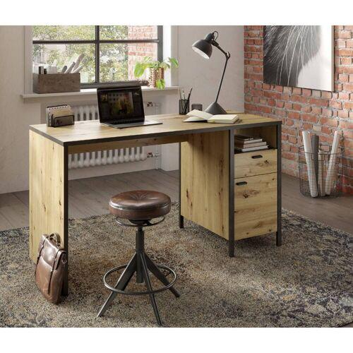 Lomadox Schreibtisch »INDORE-10«, Industrial Look, Gesamtmaß B/H/T: 135/75,5/60 cm