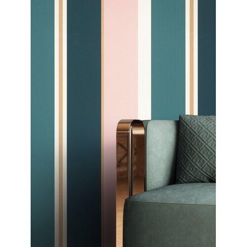 Newroom Vliestapete, Rosa Tapete Modern Streifen - Streifentapete Mustertapete Blau Gold Edel Linien Muster für Wohnzimmer Schlafzimmer Küche, blau