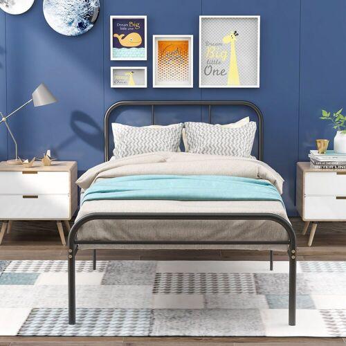 Merax Metallbett, Einzelbett Jugendbett, Metallbettrahmen, Schlafzimmerbett, Bettrahmen für Wohnzimmer