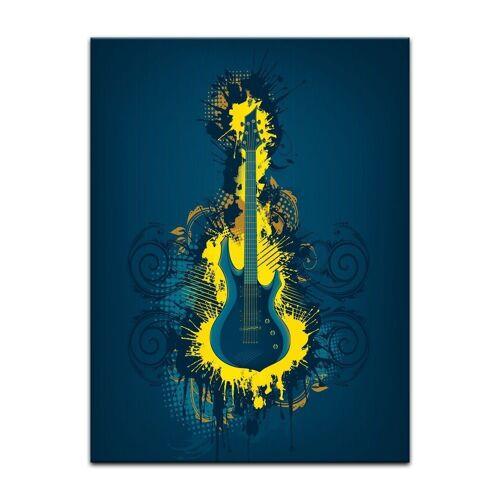 Bilderdepot24 Leinwandbild, Leinwandbild - E-Gitarre Illustration - gelb