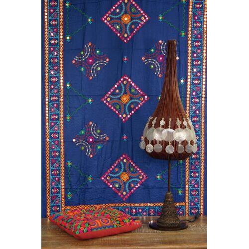 Guru-Shop Tagesdecke »Besticktes Tuch mit Spiegelchen, Wandtuch,..«, , blau