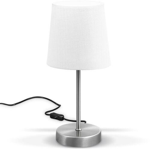 B.K.Licht Tischleuchte, LED Nachttischlampe mit Schalter E14 IP20 Stoff taupe matt-nickel, weiß