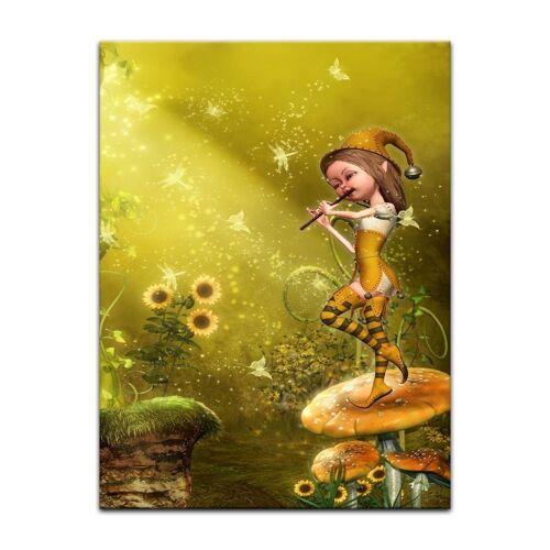 Bilderdepot24 Leinwandbild, Leinwandbild - Kinderbild - Elfe mit Flöte