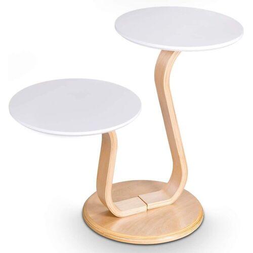 COSTWAY Beistelltisch »Beistelltisch Sofatisch«, mit 2 Tischplatten, weiß und natur