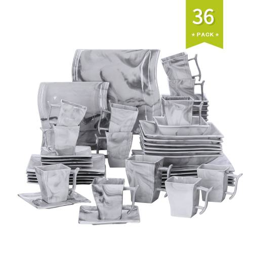 MALACASA Kombiservice »FLORA« (36-tlg), Porzellan, 36 Tlg. Marmor Porzellan Geschirrset