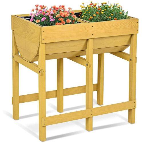COSTWAY Hochbeet »Blumenkasten mit 2 Fächern Blumenbeet« (1 Stück), Gelb