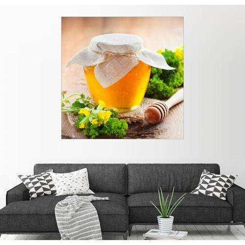 Posterlounge Wandbild, Honigtopf und Honig-Stick
