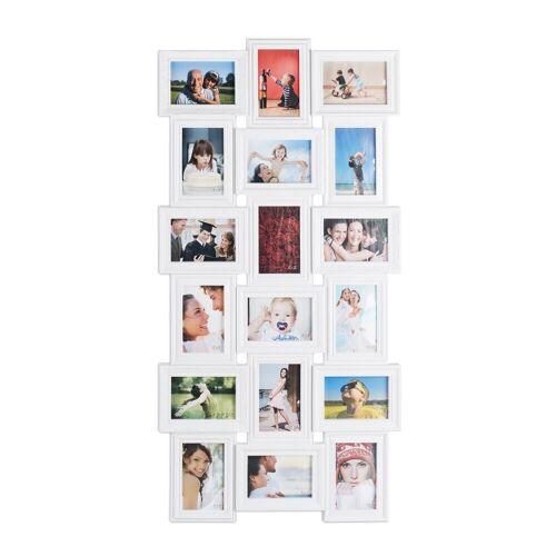 relaxdays Staffelbilderrahmen »Bilderrahmen Collagen 18 Bilder«, Weiß