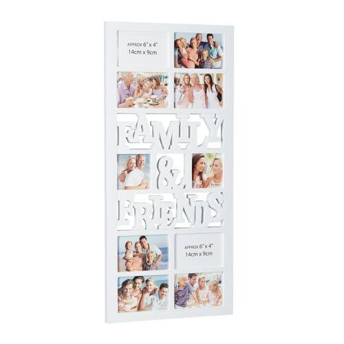 relaxdays Staffelbilderrahmen »Bilderrahmen Family and Friends«, Weiß