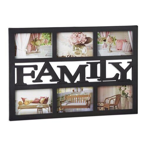 relaxdays Staffelbilderrahmen »Bilderrahmen Family«, Schwarz