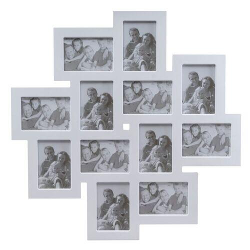 elbmöbel Collagerahmen »Bilderrahmen weiß Collage«, für 12 Bilder, Wandbilderrahmen: 12er Fotocollage 62x62x2 cm weiß