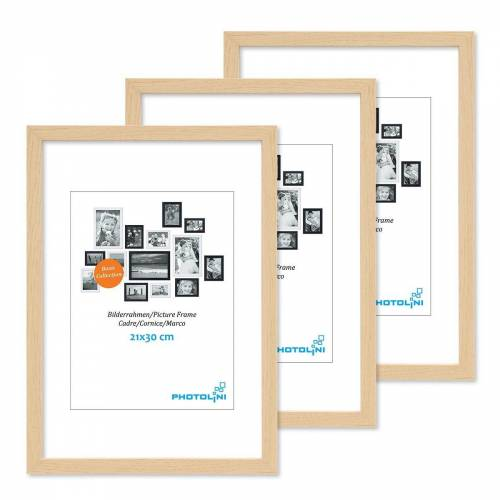 PHOTOLINI Bilderrahmen »3er Set 21x30 cm / A4 Modern Schmal Natur«
