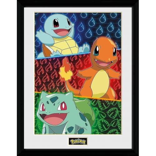 GB eye Bild mit Rahmen »Pokémon - Shiggy, Glumanda & Bisasam- Collector Print«