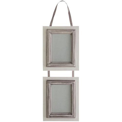elbmöbel Bilderrahmen »Bilderrahmen 2er weiß grau«, für 2 Bilder, Wandbilderrahmen: 2er 17x46x2 cm weiß grau Landhausstil