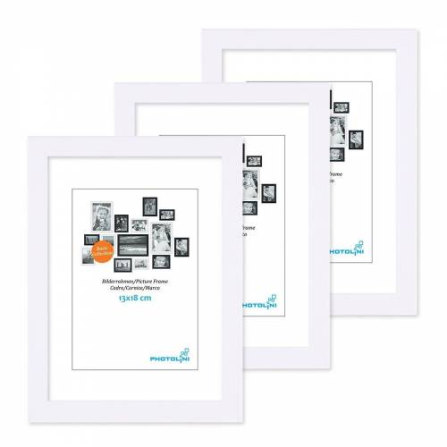 PHOTOLINI Bilderrahmen »3er Set 13x18 cm Modern Schmal / Weiss«
