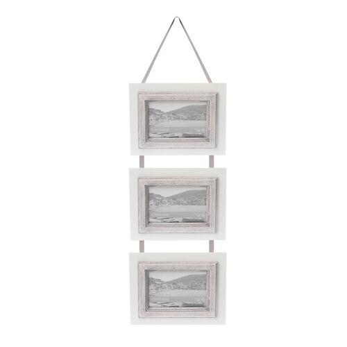 elbmöbel Bilderrahmen »Bilderrahmen 3er weiß grau«, für 3 Bilder, Hängerahmen:3er Bilderrahmen 20x50x2 cm weiß Landhausstil
