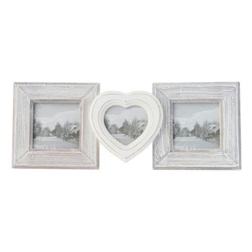 elbmöbel Bilderrahmen »Bilderrahmen 3er HERZ weiß grau Holz«, für 3 Bilder, Hochzeitsrahmen: 3er Rahmen Herz 30x16x3 cm weiß/grau Vintage