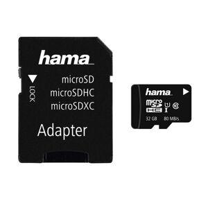 Hama microSDHC 32 GB Class 10 UHS-I 80MB/s + Adapter/Foto »inkl. Adapter auf SD Karte«, Schwarz