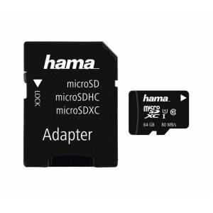 Hama microSDHC 64 GB Class 10 UHS-I 80MB/s + Adapter/Mobile »microSD Memory Card«, Schwarz
