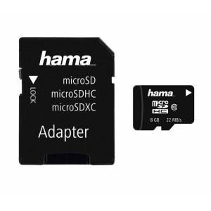 Hama microSDHC 8 GB Class 10, 22MB/s + Adapter/Foto »inkl. SD-Karten Adapter«, Schwarz