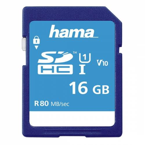 Hama SDXC Speicherkarte 16 GB, Class 10 UHS-I 80MB/S »SD Memory Card«, Blau