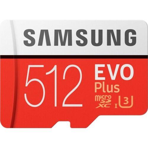 Samsung »EVO Plus microSD« Speicherkarte (512 GB, 100 MB/s Lesegeschwindigkeit, Größte Kapazität, Speicherkarte + Adapter)
