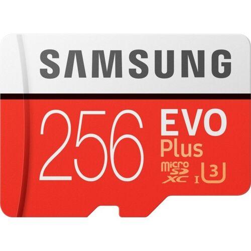 Samsung »EVO Plus microSD« Speicherkarte (256 GB, 100 MB/s Lesegeschwindigkeit, Größte Kapazität, Speicherkarte + Adapter)