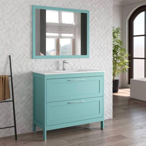 Lomadox Waschtisch-Set »TARIFA-110«, (Spar-Set, 2-tlg), Badmöbel Landhaus Waschtisch mit Keramikbecken & Landhaus-Spiegel deep blue, B/H/T ca. 101/200/45cm, blau