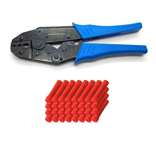 ARLI Crimpzange »Handcrimpzange 0,5 - 6 mm² - Crimpzange Presszangen Zange + 100 x Stossverbinder rot 0,5 - 1,5 mm²«