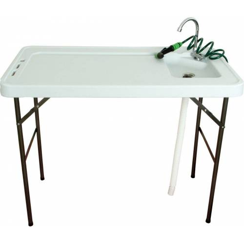NATIV Haushalt Waschtisch-Set, Campingtisch mit Spüle, Wasserhahn und Sprüher, klappbar