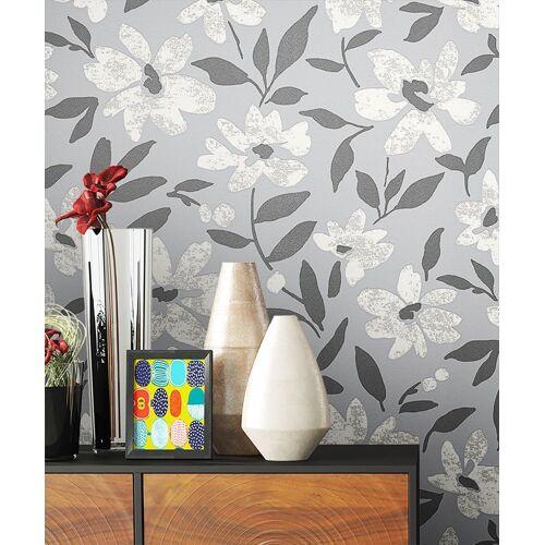 Newroom Vliestapete, Blumentapete Grau Wallpaper Floral Blumen Tapete Pflanzen Wohnzimmer Schlafzimmer Büro Flur
