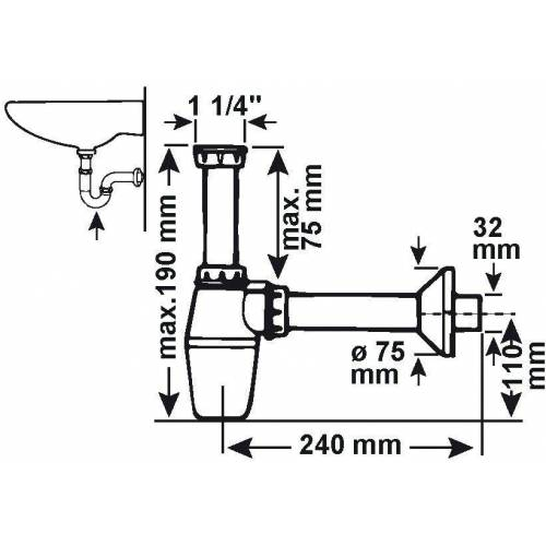 CORNAT Siphon »Waschtisch-Geruchsverschluss«, für Waschtisch-Tassen