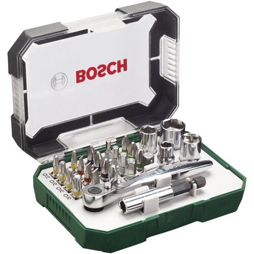 Bosch Schrauber Bit-Set , 26-tlg. mit Ratsche und Winkelschrauber, grau