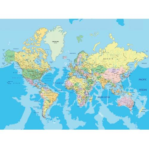 Papermoon Fototapete »World Map«, Vlies, 7 Bahnen, 350 x 260 cm, bunt