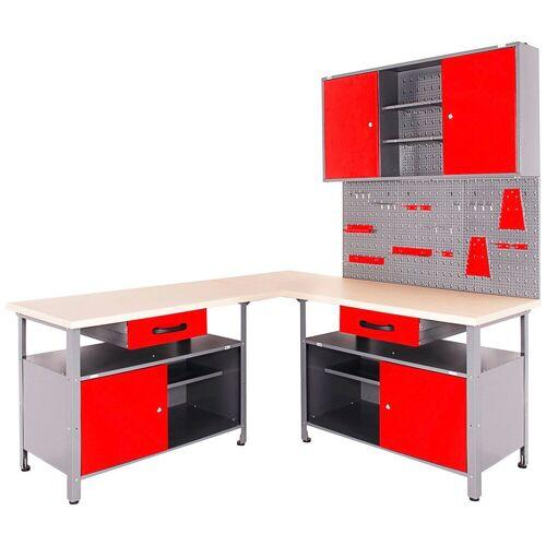ONDIS24 Werkstatt-Set 4-tlg., mit 2 Werkbänken, Werkzeugschrank & Lochwand, rot/anthrazit