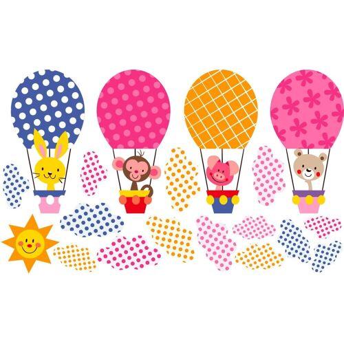 Wandtattoo »Muster - Lustige Tiere im Heißluftballon«