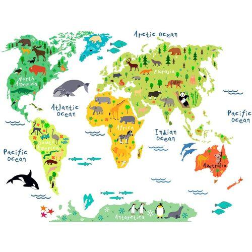 Wandtattoo »tierische Weltkarte«