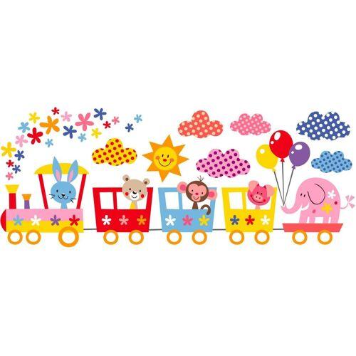 Wandtattoo »Lustige Tiere im Zug«