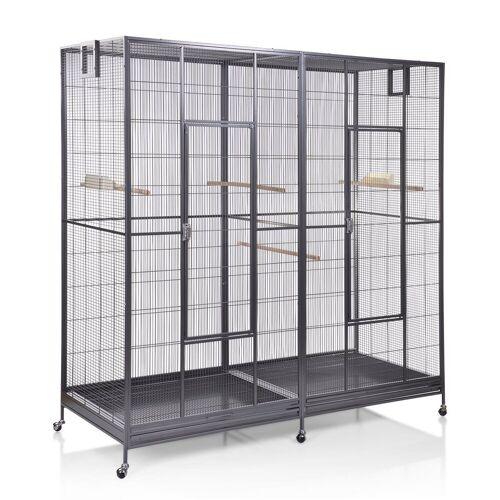 Montana Cages Vogelkäfig »Sydney II - Antik«, Doppelvoliere, Vogelvoliere XXL Sydney für Wellensittiche, Finken, Kanarien, Nymphensittiche
