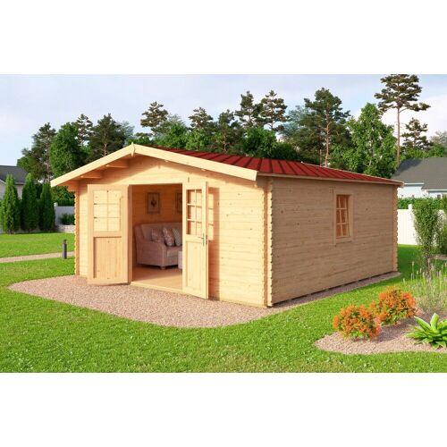 Nordic Holz Set: Gartenhaus »Nienstedten 4«, BxT: 496x496 cm, inkl. Dachschindeln und Fußboden, natur