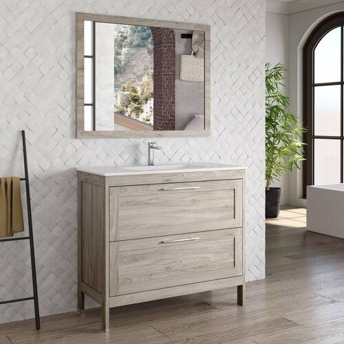 Lomadox Waschtisch-Set »TARIFA-110«, (Spar-Set, 2-tlg), Badmöbel Landhaus Waschtisch mit Keramikbecken & Landhaus-Spiegel Kiefer grau, B/H/T ca. 101/200/45cm, grau