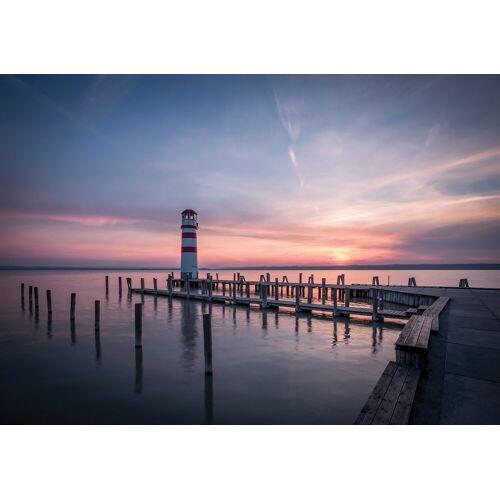 Consalnet Fototapete »Sonnenuntergang Meer«, Vlies, in verschiedenen Größen, rosa/schwarz/blau