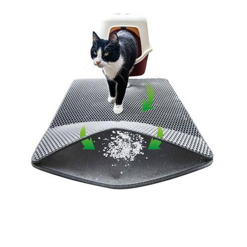 riijk Katzentoilette »Katzen Streumatte«, Katzenklomatte 75x58cm XXL Matte Katzentoilette, perfekte Katzenstreumatte für die saubere Wohnung, Katzenmatte Katzenklo grau, Grau