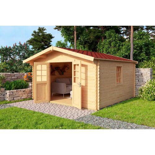 Nordic Holz Set: Gartenhaus »Nienstedten 2«, BxT: 396x396 cm, inkl. Dachschindeln und Fußboden, natur