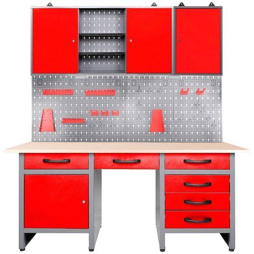ONDIS24 Werkstatt-Set »Fritz«, 3-tlg., Werkbank mit Lochwand & 2 Werkstattschränken, anthrazit/rot