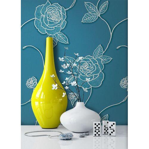 Newroom Vliestapete, Blumentapete Blau Wallpaper Floral Blumen Tapete Pflanzen Wohnzimmer Schlafzimmer Büro Flur