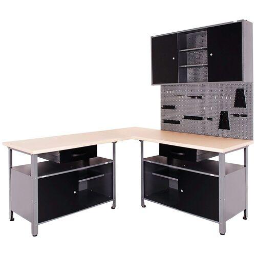 ONDIS24 Werkstatt-Set 4-tlg., mit 2 Werkbänken, Werkzeugschrank & Lochwand, schwarz/anthrazit