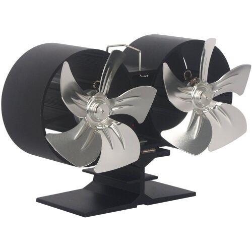 El Fuego Ventilator für Kaminöfen, Doppelrotor, schwarz