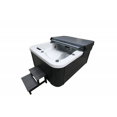 HOME DELUXE Whirlpool-Sitzbank »Outdoor Whirlpool White Marble«, mit Treppe und Thermoabdeckung